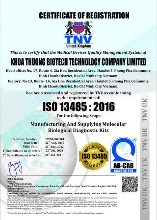 KHOA THUONG BIOTECH TECHNOLOGY COMPANY LIMITED13485